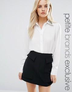 Рубашка с вышивкой на воротнике Fashion Union Petite - Белый