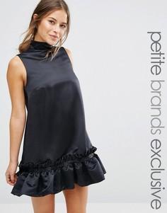 Структурированное цельнокройное платье мини с оборкой на подоле John Zack Petite - Черный