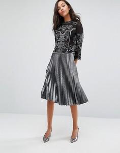 Плиссированная юбка цвета металлик Miss Selfridge - Серебряный