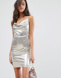 Серебристое платье на бретельках со свободным воротом Miss Selfridge - Серебряный