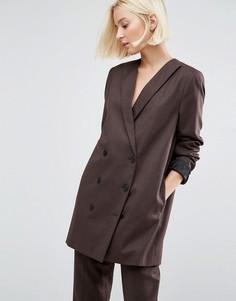 Двубортный пиджак Selected Valina - Коричневый