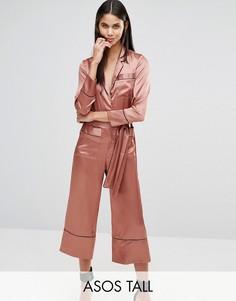 Атласный комбинезон в пижамном стиле ASOS TALL - Золотой