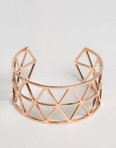 Геометрический браслет-манжета с вырезами Nylon - Золотой