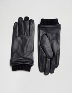 Черные кожаные перчатки с манжетами Barneys - Черный Barneys Originals