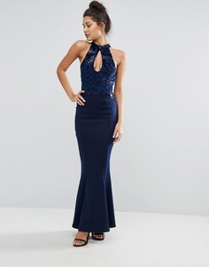 Платье макси с халтером и подолом годе Michelle Keegan Loves Lipsy - Темно-синий