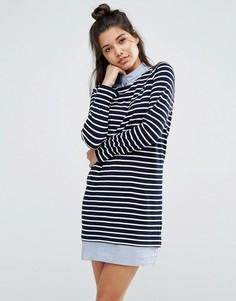 Полосатое платье из ткани понте со вставкой в стиле рубашки ASOS - Мульти