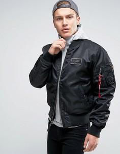 Черная классическая куртка-пилот с капюшоном Alpha Industries MA-1 - Черный
