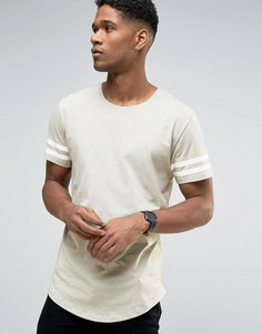 Удлиненная футболка с полосками на рукавах и асимметричным краем Only & Sons - Зеленый