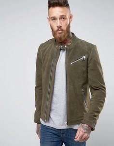 Зеленая замшевая байкерская куртка со строчкой на плечах Goosecraft - Зеленый