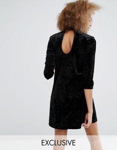 Короткое приталенное бархатное платье с вырезом капелькой Monki - Черный