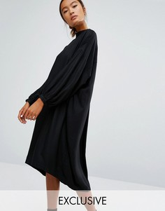 Monki Oversized Long Sleeve Midi Dress - Черный