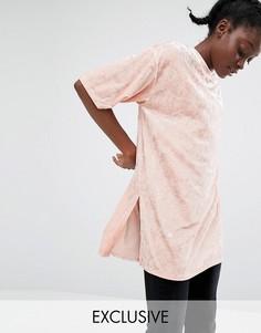 Monki Longline Velvet T-Shirt - Розовый