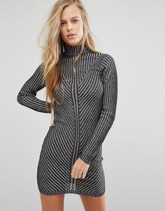 Платье мини в рубчик с длинными рукавами Miss Selfridge - Черный