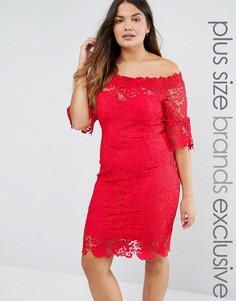 Кружевное платье с вырезом лодочкой Paper Dolls Plus - Красный
