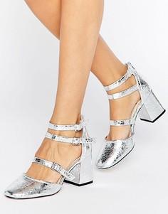 Туфли металлик на блочном каблуке с ремешками Miss Selfridge - Серебряный