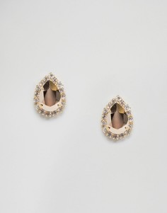 Серьги грушевидной формы с кристаллами Swarovski Krystal Rosetta - Золотой