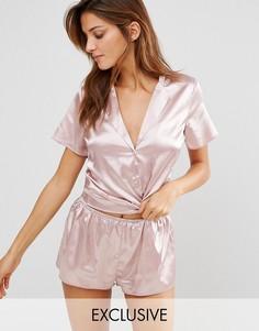 Атласный пижамный комплект Wolf & Whistle - Розовый