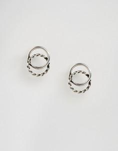 Серьги-гвоздики с двойными кольцами Kingsley Ryan - Серебряный
