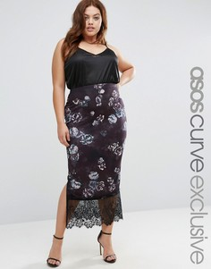 ASOS CURVE Midi Skirt In Dark Floral With Lace Hem - Мульти