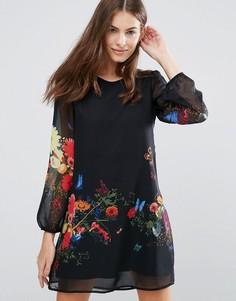 Платье-туника с цветочным принтом Yumi - Черный