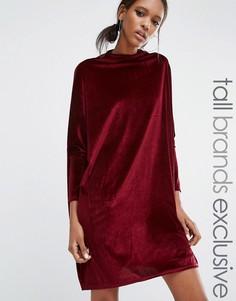 Свободное вельветовое цельнокройное платье-oversize Daisy Street Tall - Красный