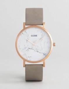Золотистые часы с серым кожаным ремешком CLUSE La Roche CL40005 - Золотой