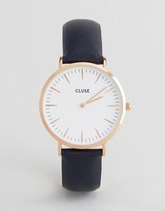 Розово-золотистые часы с темно-синим кожаным ремешком CLUSE La Boheme CL18029 - Золотой