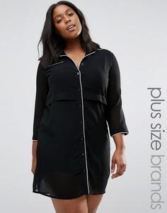 Платье-рубашка с контрастным кантом Praslin Plus - Черный