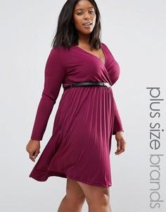 Платье с плиссированной юбкой и ремешком Praslin Plus - Красный