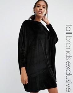 Свободное вельветовое цельнокройное платье-oversize Daisy Street Tall - Черный