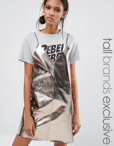 Daisy Street Tall Pu Cami Mini Slip Dress - Серебряный
