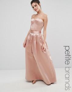 Атласная юбка макси Chi Chi London Petite - Розовый