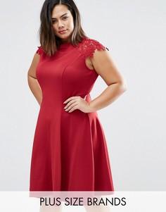 Короткое приталенное платье с кружевными рукавами Praslin Plus - Красный