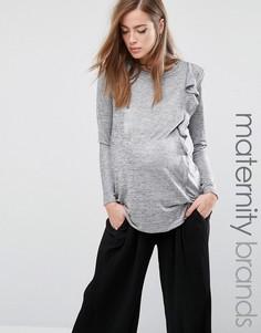 Топ металлик для беременных с длинными рукавами и рюшами Bluebelle - Серебряный
