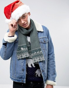 Новогодний шарф с традиционным узором Фэйр-Айл 7X - Зеленый