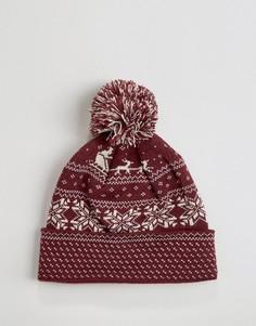 Шапка-бини с рождественским узором Фэйр-Айл 7X - Красный