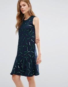Шерстяное платье с принтом YMC Gummy - Темно-синий