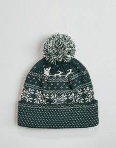 Шапка-бини с рождественским узором Фэйр-Айл 7X - Зеленый