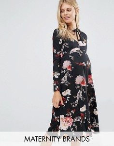Свободное платье с длинными рукавами и принтом Bluebelle Maternity - Мульти