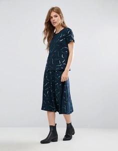 Шерстяная юбка-трапеция миди с принтом YMC - Синий