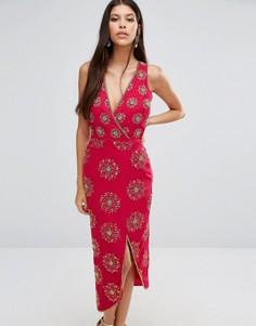 Платье миди с декоративной отделкой Virgos Lounge Daria - Красный