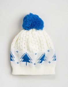 Новогодняя шапка-бини с принтом елок 7X - Белый