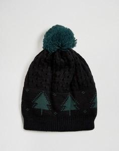 Новогодняя шапка-бини с принтом елок 7X - Черный