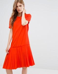 Платье с заниженным краем YMC Basic - Красный