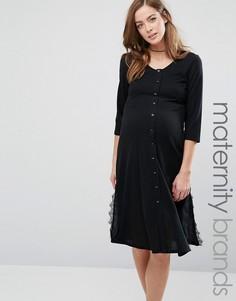 Чайное платье для беременных с кружевными вставками по бокам Bluebelle Maternity - Черный