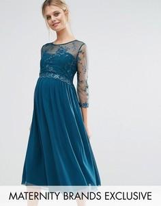 Приталенное платье для беременных с цветочной аппликацией Little Mistress Maternity - Зеленый