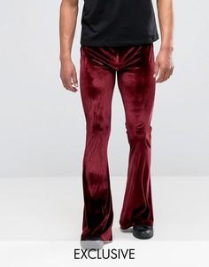 Бархатные расклешенные брюки Reclaimed Vintage - Красный