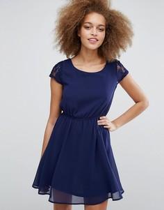 Кружевное короткое приталенное платье Pussycat London - Темно-синий