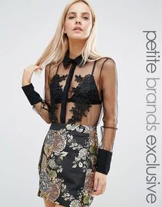 Полупрозрачная блузка с цветочной аппликацией Fashion Union Petite - Белый
