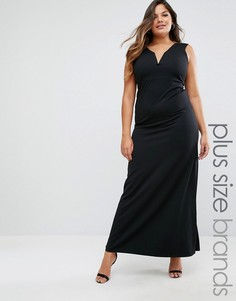 Missguided Plus Plunge Neck Maxi Dress - Черный